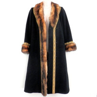 Oscar De La Renta Black Wool and Mink Fur Long Coat