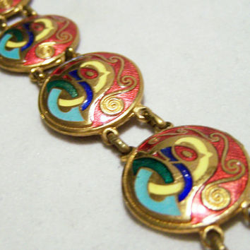 Tara Ware Celtic Bracelet Red Enamel Figural Bird Design Gold Tone Vintage Jewelry 516GZ