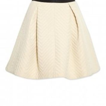 DKNY | Chevron Quilted Pull on Pleated Skirt by DKNY