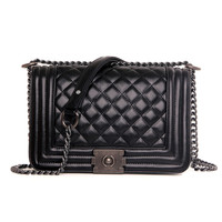 Kavard Chains Diamond Lattice Pu Handbags For Women