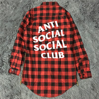 Anti Social Social Club Falnnel Shirt Men Letter Supremo Box Logo ASSC Hip Hop Palais Skateboards Camisa Harajuku Autumn Shirts
