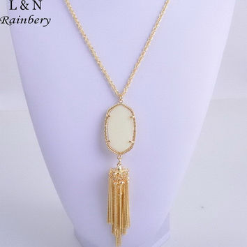 Rainbery 2017 New Chic Jewelry Vintage Stylish Winter Color Turquoise & Wood Beaded& Cotton Strings Tassel Long Necklace Women