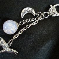 Howling Wolf Moon Cloudy Crackle Glass Marble Keychain