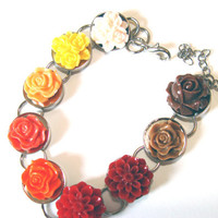 Fall Flowers Bracelet Women Fashion Jewelry Orange Brown Cinnamon Resin Flower Cabs