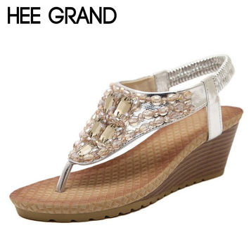 HEE GRAND Summer Wedges Sandals With Rhinestone Crystal Bling Flip Flops Fashion Platform Wedge Shoes Woman Size 35-40 XWZ896
