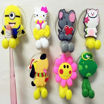 Multifunctional  Cute Cartoon Minion Kitty suction cup Toothbrush Holder Hooks Bathroom Accessories  24 Colors Free Shipping