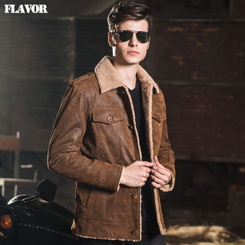 Men's real leather jacket pigskin denim double face fur jackets Genuine Leather jacket men leather coat