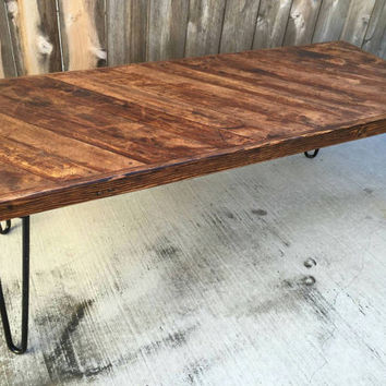 Honey diagonal, coffee table , reclaimed wood, mid century Modern, rustic, chic,