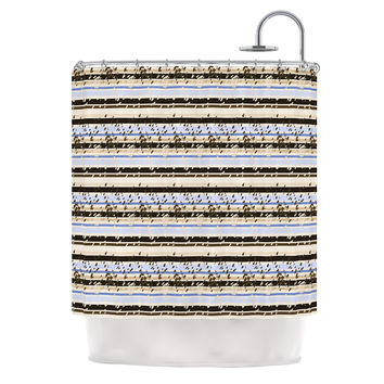 "Mydeas ""Nautical Breeze - Sandy Stripes"" Tan Blue Shower Curtain"