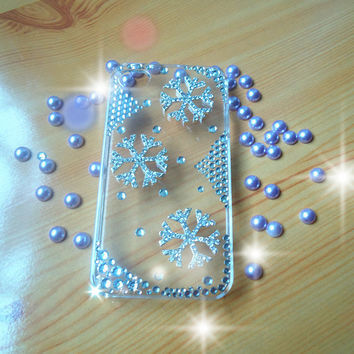 DIY iphone 4/4s case.handmade snow case.jewelry and clear case.