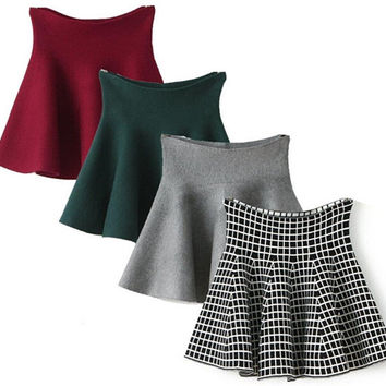 Winter A-line High Waist Wool Pleated Skirts