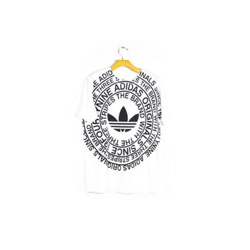 ADIDAS bold text tee / originals / trefoil logo black & white minimal minimalist / hip hop rap / athletic sporty / unique rare / medium