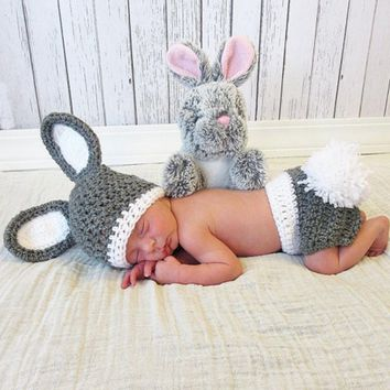 Crochet baby prop baby shower gift newborn gift newborn prop Original Newborn Photography Prop rabbit Navy hat Watch hat