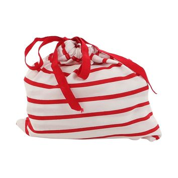 Red striped fitted crib sheet