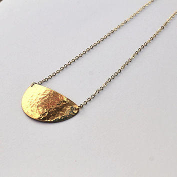 Gold Geometric Half Moon Necklace   Half Circle Boho Pendant   S 99819ee197