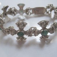 Vintage Middle East Jerusalem Cross Silver and Green Stone Bracelet