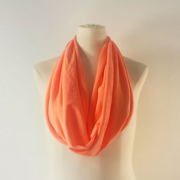 NEON ORANGE Cowl Neck Scarf - Infinity Scarf - Cotton Scarf - Safari Green - Available in Many Colors