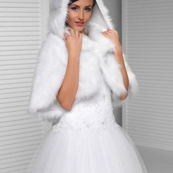 PEAPGB2 2016 Custom made wedding faux fur white Bridal shawl wrap stole shrug bolero Winter wedding jacket