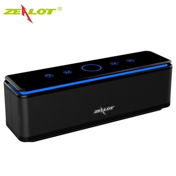ZEALOT S7 Speaker Touch Control Bluetooth Wireless Speakers 4 Drivers with LED Bar Aux Audio/TF Card Bass Stereo Studio Effect