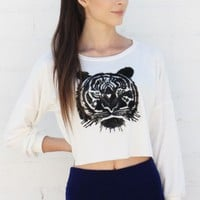 Fuzzy Tiger Print Sweater