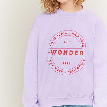 BDG Wonder Crew Neck Purple Sweatshirt - Urban Outfitters