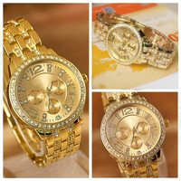 Crystal Rhinestone Luxury Quartz Women's Men Wrist Watch (Color: Gold) = 1956493956