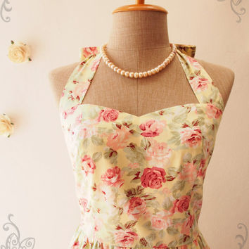 Vintage Inspired Dress Yellow Floral Dress Yellow Summer Dress Floral Tea Dress Once Upon a Time Bustier Dress-Size XS,S,M,L,XL,CUSTOM