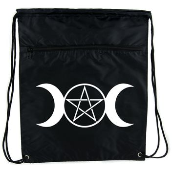 Triple Moon Goddess Pentagram Cinch Bag Drawstring Backpack Witchy