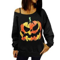 Fashion Autumn Outwears Women Sweatshirts  Off Shoulder Halloween Pumpkin Print Long Sleeve Pullovers Coats Sweatshirt Blouse