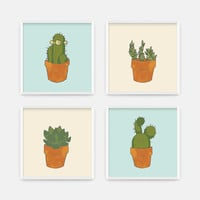 Cactus Print - Dorm Decor - Office Wall Art - Cream and Blue Office Print - Desert Cactus Art Print - Cactus Art - CCo