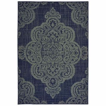 Marina Navy Grey Oriental Medallion Casual Rug