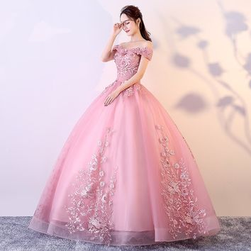 Off Shoulder Blush Pink Appliques  Vintage Quinceanera Dresses Lace Up