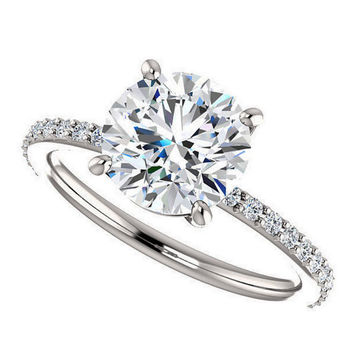 shay ring - NEO moissanite engagement ring, 2 carats, diamonds, 14k white gold