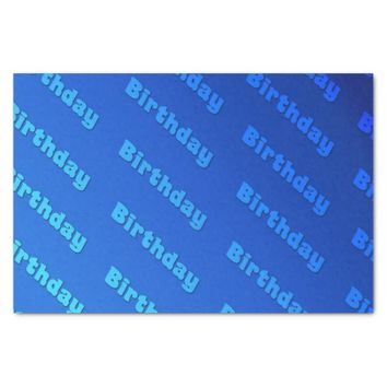 "Birthday (blue) 10"" x 15"" tissue paper"