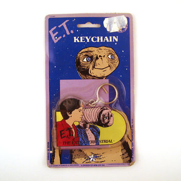 E.T. Keychain Vintage 1980s Et and Elliot Plastic Key Chain