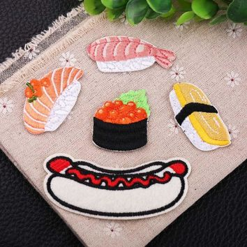 Cute hot dog Sticker Embroidery Patch Sushi Iron On Patches Set Logo Sew Applique Fabric Badge Garment DIY Apparel