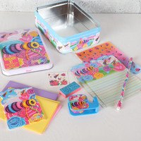 Vintage Lisa Frank Buzz Bee Stationery Set in Collector's Tin with Stationery, Stickers, Notepad, and More