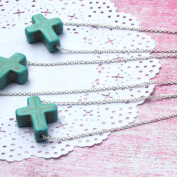 turquoise cross pendant, simple cross pendant, religious pendant, turquoise pendant, cross jewelry, southwestern cross, cross gift, cross