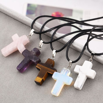 Punk Jewelry Leather Cord Necklace Amethyst Tiger Eye Rose Quartz Turquoise Opal Real Natural Stone Cross Pendant Charm Necklace