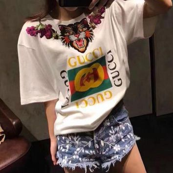 DCCKN7G GUCCI Women Man Fashion Tiger Embroidery Short Sleeve Tunic Shirt Top Blouse