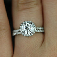Kimberly Medio Size Platinum Thin Round FB Moissanite and Diamonds Halo Wedding Set (Other metals and stone options available)