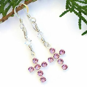 Pink Swarovski Crystal Cross Earrings Handmade Christian Jewelry OOAK