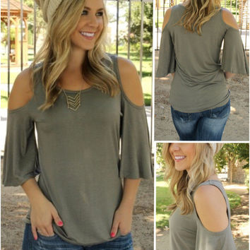 Gray Flounced Sleeve T-Shirt