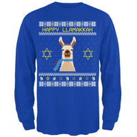 Llama Llamakkuh Ugly Hanukkah Sweater Adult Long Sleeve T-Shirt