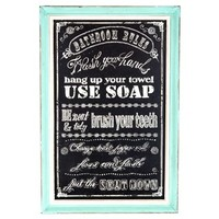 Bathroom Rules Chalkboard Art with Turquoise Frame | Shop Hobby Lobby