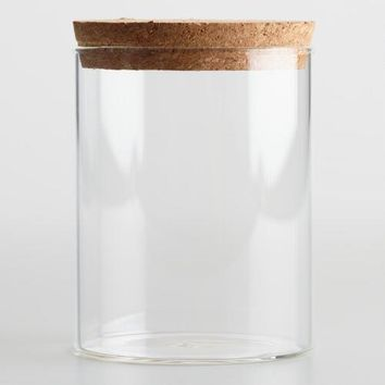 Small Glass Canister with Cork Top Set of 2