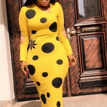 Black and Yellow Polka Bodycon Dress
