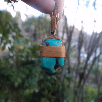 Large, Real, Brown Leather Wrapped Turquoise on Long Brass Chain Necklace - OOAK