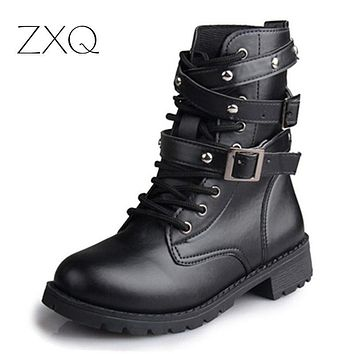 SHOES BOOTS Women'S Motorcycle Boots Ladies Vintage Rivet Combat Army Punk Goth Ankle Shoes Biker Leather women boot