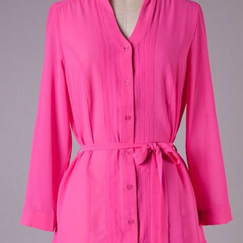 Pink Tunic Top with Tie